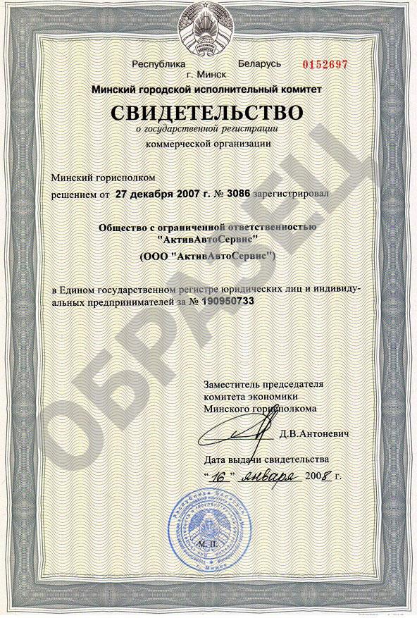 Копия свидетельства о государственной регистрации АктивАвтоСервис